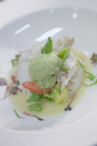 Entree - West Australian crayfish and fresh snow pea salad dressed with lemon emulsion and served with a pea and mint mousse