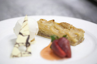 Dessert - Baby pear and ginger tart served with candied ginger ice cream