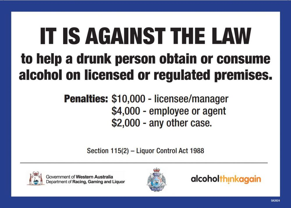 It is against the law to help a drunk person obtain or consume  alcohol on licensed or regulated premises.