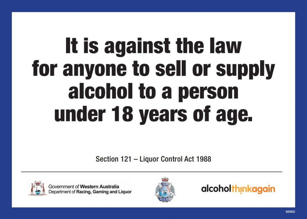 It is against the law to sell or supply alcohol to a person under 18 years of age