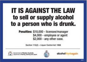 It is against the law to sell or supply alcohol to a person who is drunk (penalties)