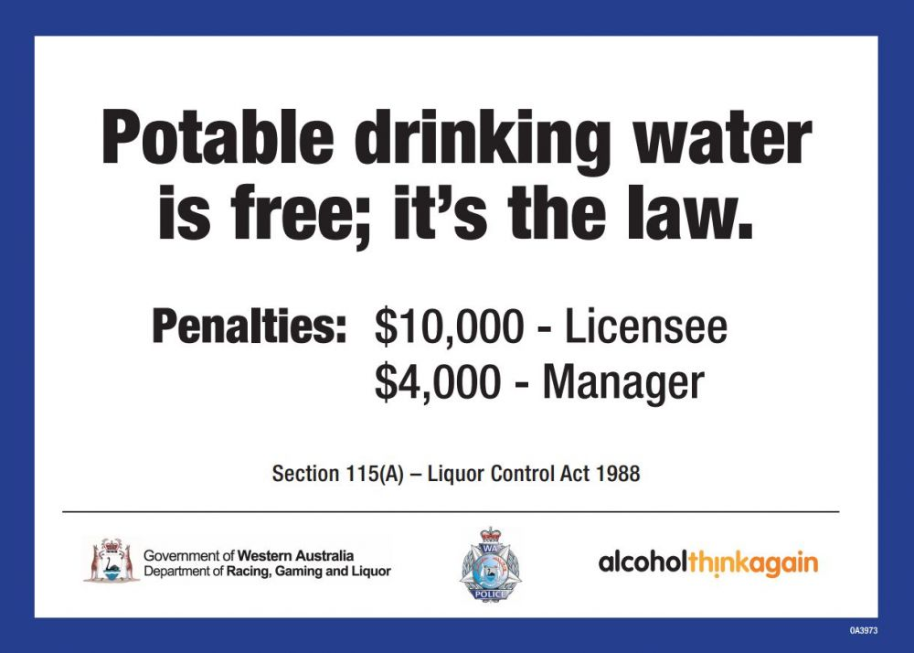 potable drinking water is free its the law